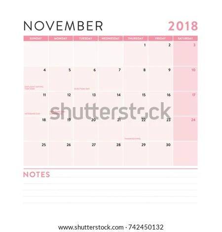 November 2018 Monthly Calendar Notes Vector Stock Vector (Royalty