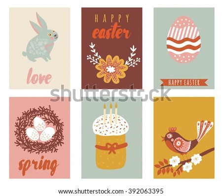 Happy Easter Greeting Cards Template Easter Stock Vector 392063395 - easter greeting card template