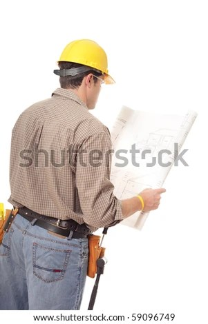 Back View Construction Worker Reading Blueprints Stock Photo - reading blueprints
