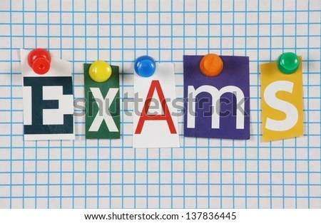 Word Exams Cut Out Magazine Letters Stock Photo (Safe to Use - lined paper background for word