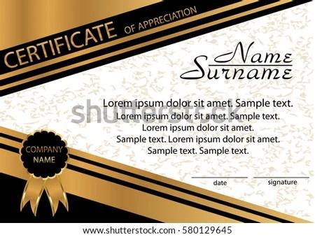 Gold Black Template Certificate Appreciation Elegant Stock Vector - sample certificate of appreciation