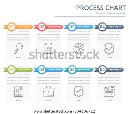 Process Chart Flow Chart Template Infographics Stock Vector (Royalty - flow chart template