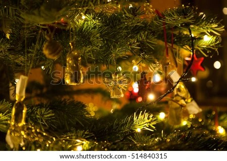 Christmas Angel On Christmas Tree Background Stock Photo (Royalty