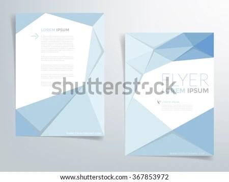 Blue Polygonal Brochure Template Flyer Background Stock Vector