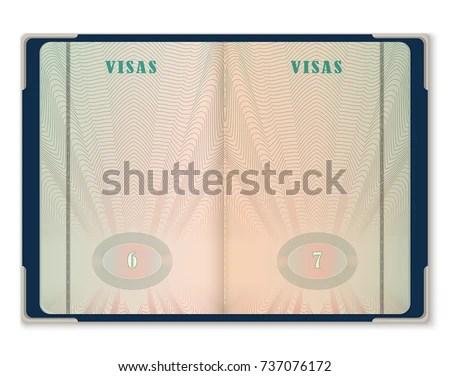 Open Blank Pages Passport Template Tourist Stock Vector 737076172 - passport template