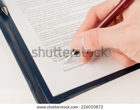 Singing Contract Agreement Stock Photo 155827475 - Shutterstock - writing contract agreements