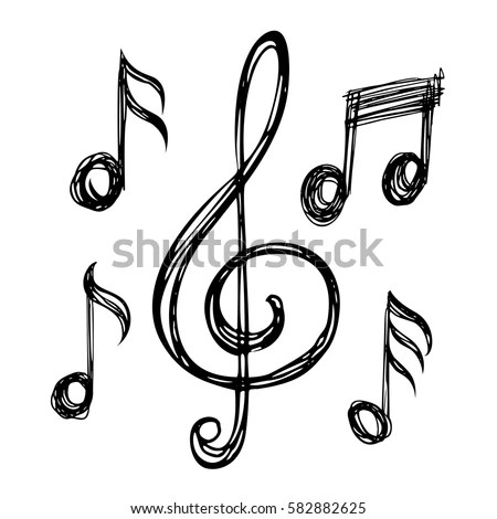 Treble Clefs Notes Clef Music Icons Stock Vector 582882625 - clef music