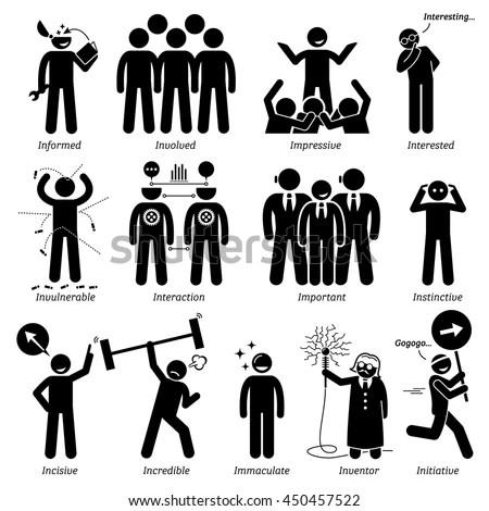 Positive Personalities Character Traits Stick Figures Stock Vector