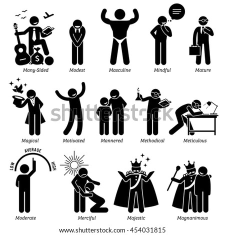 Positive Personalities Character Traits Stick Figures Stock