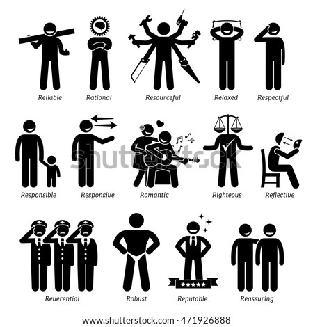 Positive Personalities Character Traits Stick Figures Stock Vector