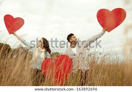 Young attractive happy couple in love.  - stock photo