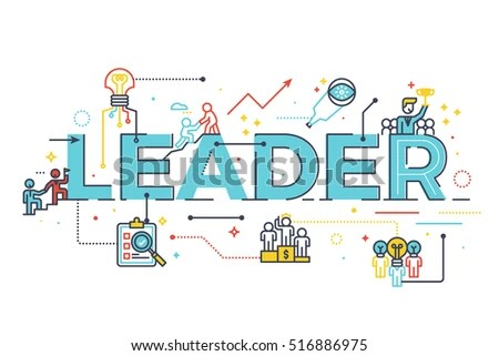 Leader Word Business Leadership Concept Word Stock Vector HD - line leader