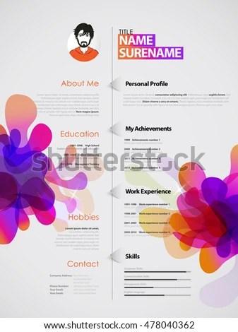 Creative Purple Color Cv Resume Template Stock Vector 585379514 - creative resume template