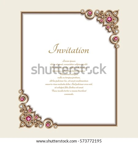 Vintage Gold Rectangle Frame Jewelry Corner Stock Vector 573772195 - wedding announcement template