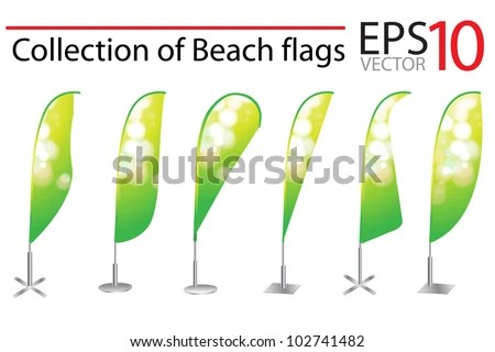 Vector Beach Flag Banner Stand Display Stock Vector (Royalty Free