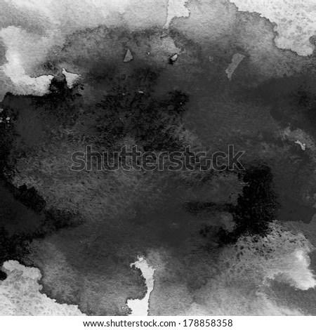 Black Watercolor Background Aquarelle Colorful Texture Stock
