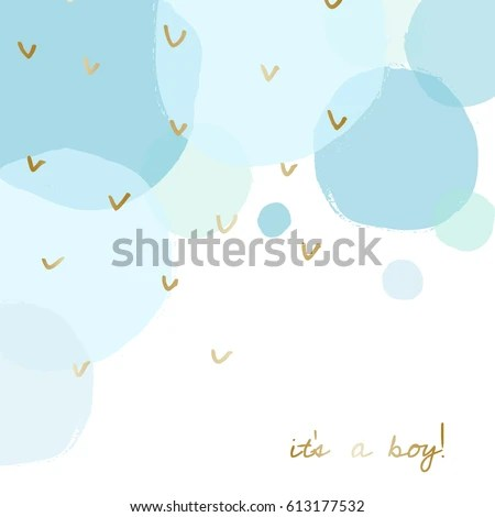 Baby Boy Birth Announcementbaby Shower Card Stock Vector (Royalty