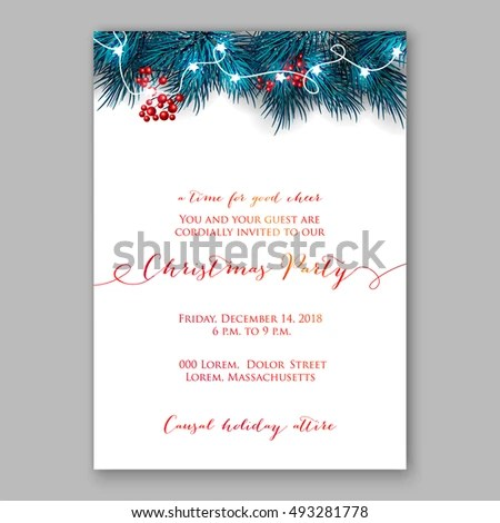 Christmas Party Invitation Template Stock Vector HD (Royalty Free