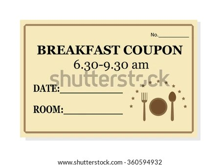 Breakfast Coupon Template Hotel Isolated On Stock Photo (Photo - coupon template