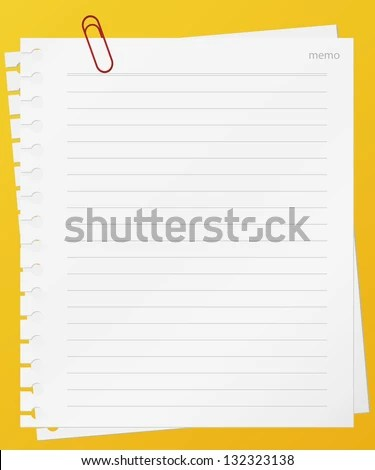 Lined Memo Papers Red Color Clip Stock Vector 132323138 - Shutterstock