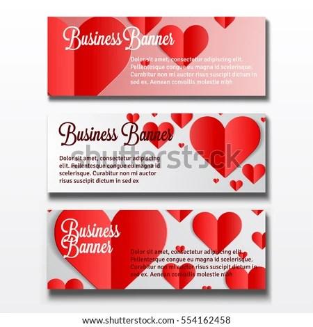Set Three Horizontal Valentines Day Business Stock Vector 554162458