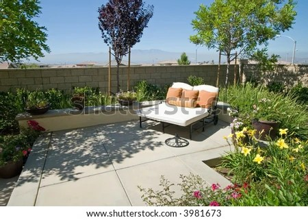 Backyard Oasis Retreat Suburban Stock Photos, Images