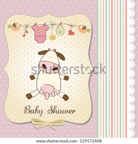 New Baby Girl Announcement Card Cow Stock Vector 129572408