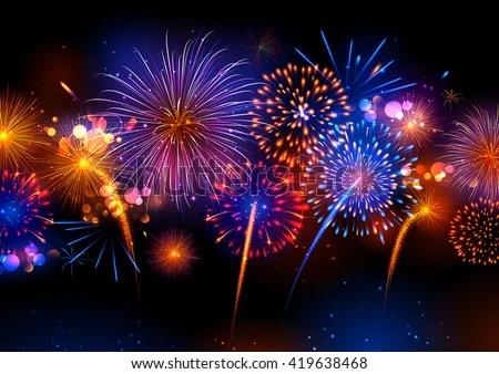 Diwali Hd Wallpaper Download Illustration Realistic Colorful Fireworks Stock Vector