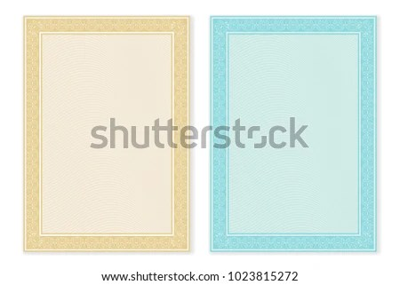 Certificate Template Blank Form Decorative Border Stock Illustration