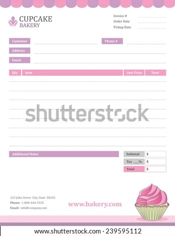 Bakery Invoice Template Stock Vector HD (Royalty Free) 239595112
