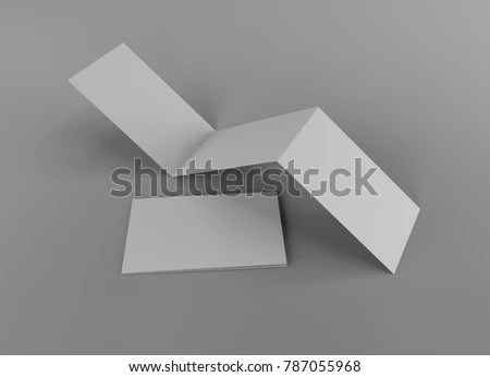 Trifold Card Flyer Mockup 3 D Rendering Stock Illustration 787055968 - Tri Fold Card