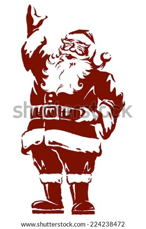 Vintage Style Father Christmas Santa Claus Stock Vector (Royalty