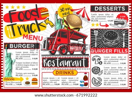 Food Truck Festival Vector Menu Template Stock Vector 671992222 - food truck menu template