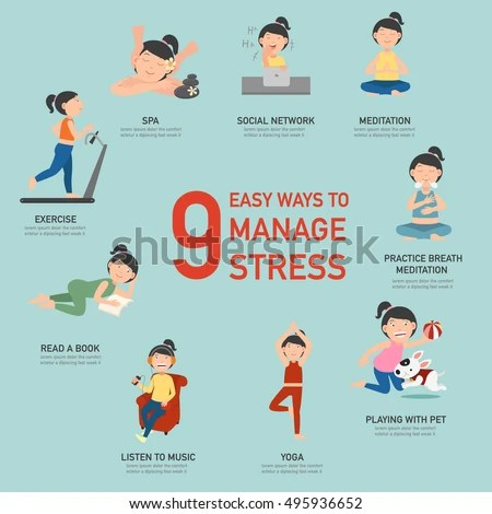 Easy Ways Manage Stressinfographicvector Illustration Stock Vector