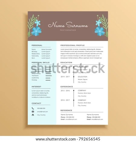 Floral Flower Feminine Simple Resume CV Stock Vector 792656545 - simple resume design