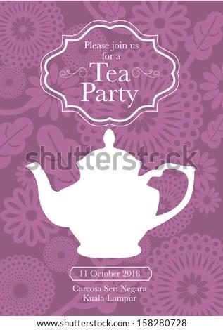Tea Party Invitation Card Template Vectorillustration Stock Vector