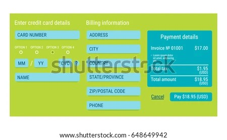 Online Payment Form Online Digital Invoice Stock Vector 648649942 - invoices online form