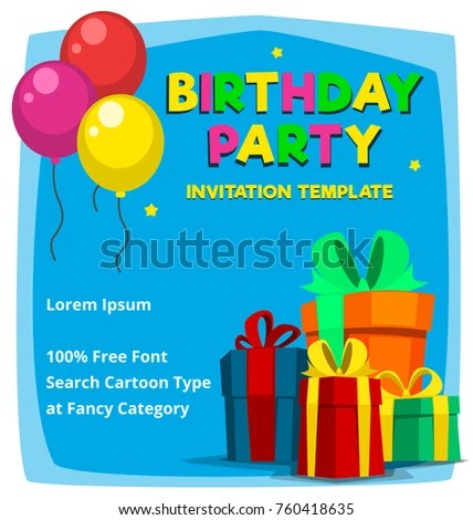 Vector Cartoon Birthday Party Invitation Card Stock Vector 760418635 - birthday party card template