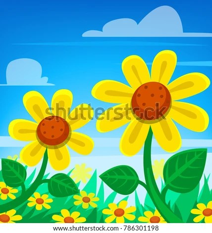 Vector Cartoon Spring Season Scene Sun Stock Vector (Royalty Free