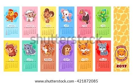 Calendar 2017 Year Animals Week Starts Stock Vector (2018) 421872085 - kids calendar template