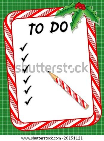 Christmas Do List Candy Cane Frame Stock Vector 58825351 - christmas checklist template