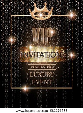 VIP Event Invitation Card Gold Serpentine Stock Vector 583291735 - invitation card event