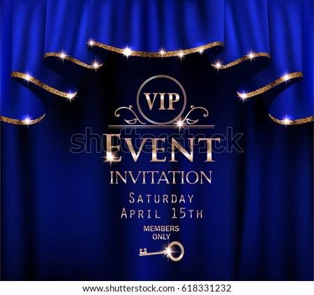 Blue VIP Event Invitation Card Red Stock Vector 618331232 - Shutterstock