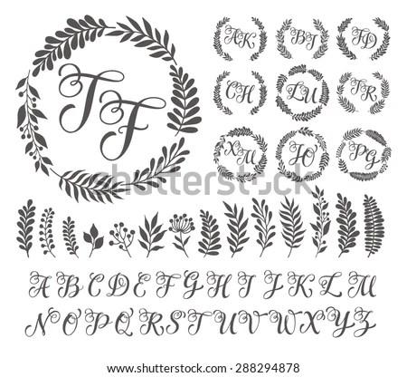 Vector Illustration Vintage Monogram Set Design Stock Vector - calligraphy designs templates