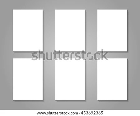6 White Paper Sheets On Gray Stock Photo (Photo, Vector - presentation cover with window