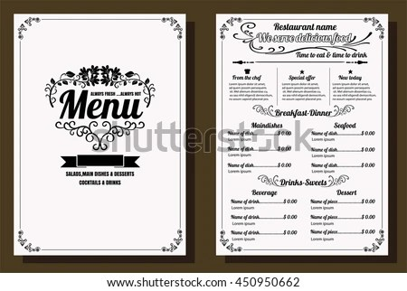 Restaurant Food Menu Vintage Design Chalkboard Stock Vector (Royalty - menu