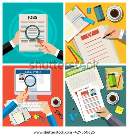 Set Job Interview Concept Business Cv Stock Photo (Photo, Vector - resume check
