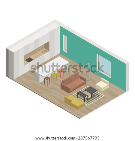 Illustration Interior Living Room Isometric View Stock Vector - isometric view