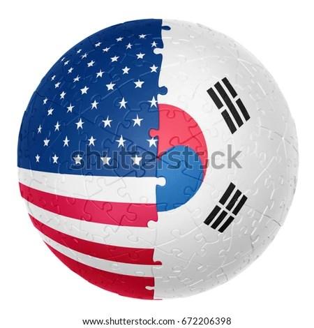 Jigsaw Ball One Half USA Flag Stock Illustration 672206398