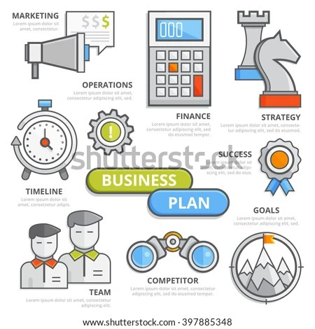 Flat Line Business Plan Concept Marketing Stock Vector 397885348 - business plan elements